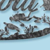 スキューバダイビング×珊瑚礁×魚×ウミガメ×エイをモチーフにした表札