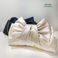 サテンの大きめハンドバッグ 結婚式 リボンの飾り 入学式 入園式 パーティーバッグ297
