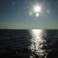 きらめく海を船で行く