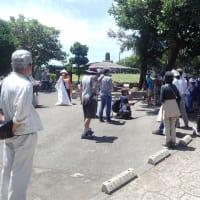 「魂魄の塔」前で、鉱山開発に抗議し、南部地区からの辺野古埋立のための土砂調達計画に抗議する集会