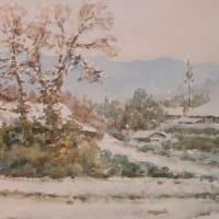 水彩お絵描き思い出めくり№186「徳佐雪景色」