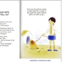 a children's science book「What are  our pets trying to  tell us ?」  by Motoji Ikeya (英語版)