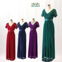 ロングドレス364 伸縮性の良いラメレースの袖付きドレス スタイル良く見える演奏会ドレス フォーマル パーティー 結婚式 カラオケ キャバ