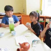 7月13日 西保育園で、日本茶教室