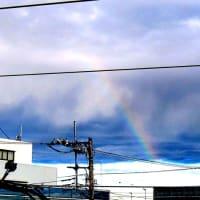 朝、虹が見えました。