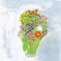 ガーベラの花が描きたくて(スケッチ&コメント)