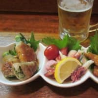 「居酒屋ゆき野」、ほろ酔いセット1,680円は、家庭料理のお通し3品とドリンク2杯