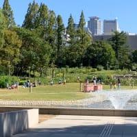 午前の公園は保育園児の遊び場ですね。