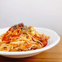 【簡単レシピ】【イタリアン】きのこのトマトソースパスタ【トマト缶】【食物繊維】