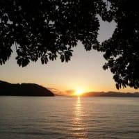 梅雨の晴れ間の不知火海の夕景