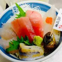 スズキを使った海鮮丼|小田原魚河岸 でん