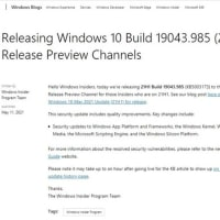 Windows 10 バージョン 21H1(Insider Preview Beta チャンネル)に累積更新(KB50003173) が配信されてきました。