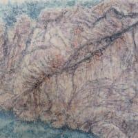 楽描き水彩画「岐阜城直下の巨岩壁を描きました」