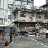 旧市民病院ひさし崩落。