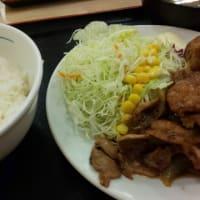 京成大久保 松屋  お肉1.5倍『豚肩ロースの生姜焼定食