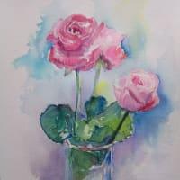 ピンクな薔薇、ラングトンに描く