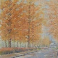 水彩お絵描き思い出めくり№32「メタセコイアの並木道」