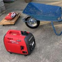 発電機の点検と一輪車修理