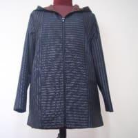 縦縞の着物からフード付きジャケット(オーダー)