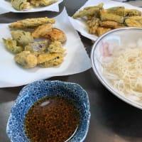 きょうのお昼ご飯 天麩羅と素麺