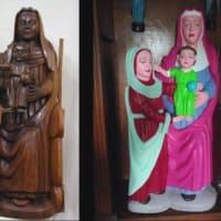 """聖母とキリストの木像 """"修復"""" で毒々しい色に スペイン"""