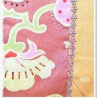 銀杏色リネンのたまごバック、キュートな小鳥ちゃんアップリケ&ビーズ刺繍の凝ったヤツ 完成!!