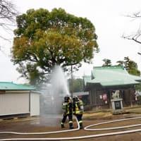 ◆文化財防火デーを前に小園子之社での消火訓練に参加しました