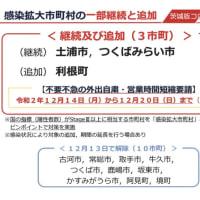 茨城県境町、12/13日で、感染拡大市町村解除。引き続き感染防止は徹底してください。