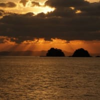不知火海の夕景 天使の梯子
