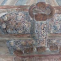 楽描き水彩画「賽銭箱に取り付けられた年代物の錠前」