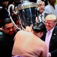 大相撲夏場所千秋楽トランプ大統領観戦