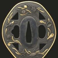 十字に藻貝図鐔 古金工 Kokinko Tsuba