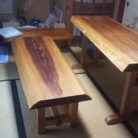 杉テーブルセット納品