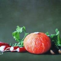 『南瓜とラディッシュそして栃の実』油彩画