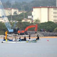 ガット船による土砂の搬送と土砂陸揚げ/K9護岸奥の木々の伐採