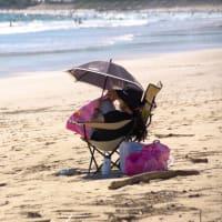 海浜で待つ