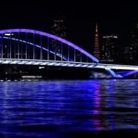 隅田川12橋ライトアップその①築地大橋(医療関係者応援)