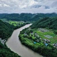 小舟集落のおてんま(協働作業)&日岐上空からの風景