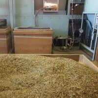 寒い日は、加賀棒茶の焙煎機の前が暖かい・・・作業がはかどります。