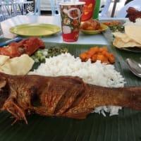 バナナリーフBanana Leaf Rice - Kanna Curry House。外の空気のテーブルで  食べるインド料理美味いな。