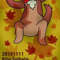 秋の犬イラスト。iPhone待ち受けホーム画面画像。191119