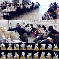 授業風景と立体作品