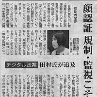 顔認証 規制・監視こそ/デジタル法案 日本共産党:田村氏が追及・・・今日の赤旗記事