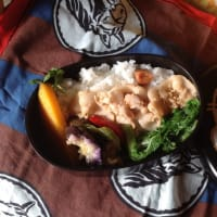 豚ばらと白菜の間引き菜のお弁当