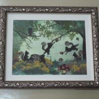 森の動物・3作品(押し花)