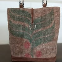 珈琲豆の麻袋・柿渋染め牛皮と組み合わせ・バック(オーダー)