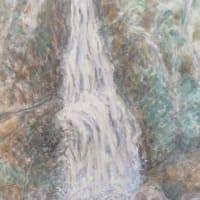 楽描き水彩画「自然と歴史に包まれた岐阜公園にある滝を描きました」
