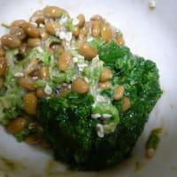 おばさんの料理教室 オクラ・モロヘイヤ・納豆混ぜ合わせ