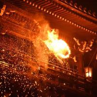 奈良の夜を焦がすお松明・・(^-^)