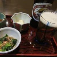 「そば処 丸よし」、そば屋のセット(晩酌セット)1,200円は、ビール+3品+そば